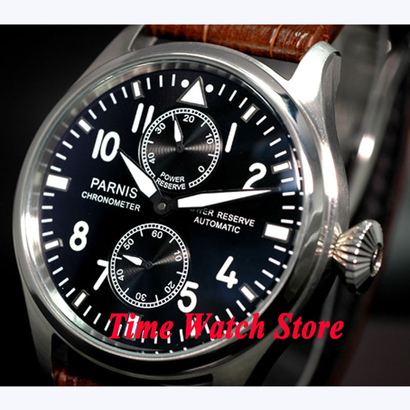 Parnis watch 47mm black dial brown leather strap power reserve ST2542 Automatic Self-Wind movement Men's watch 95 47mm parnis black dial power reserve date automatic brown strap mens watch