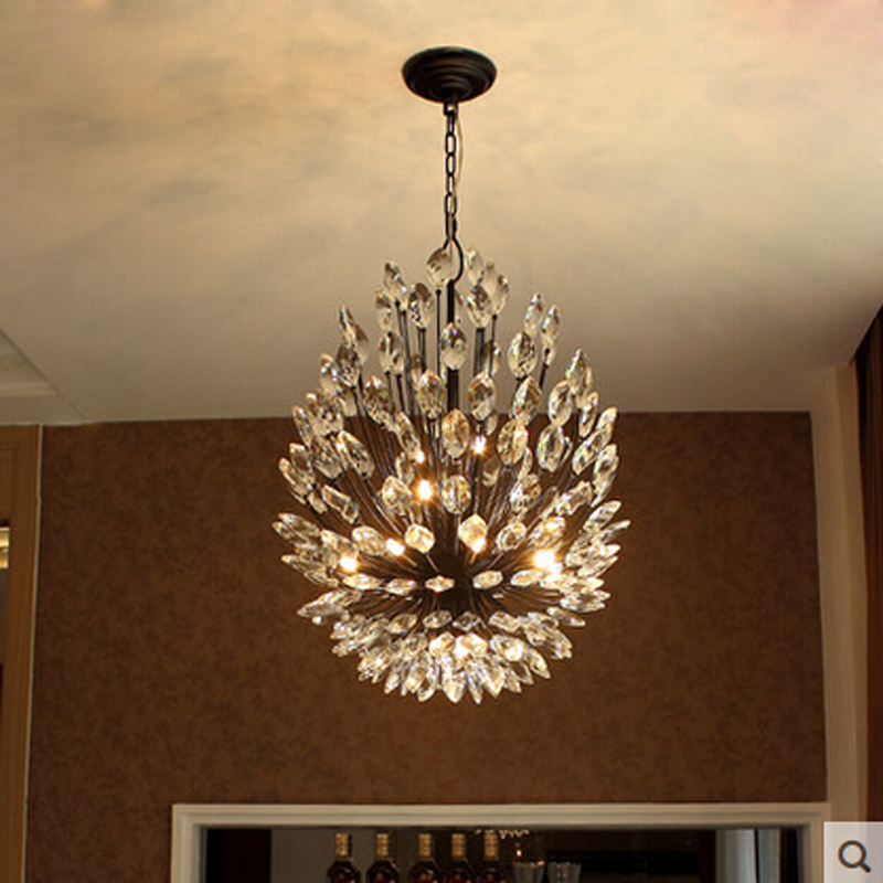 Crystal chandelier American retro iron simple living room restaurant Nordic modern personality art bedroom lamps купить