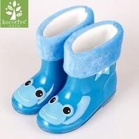Kocotree Brand Girls Antiskid Wellies With Cotton Velvet Kid Cartoon Rainboots Boys Autumn Winter Warm Rain