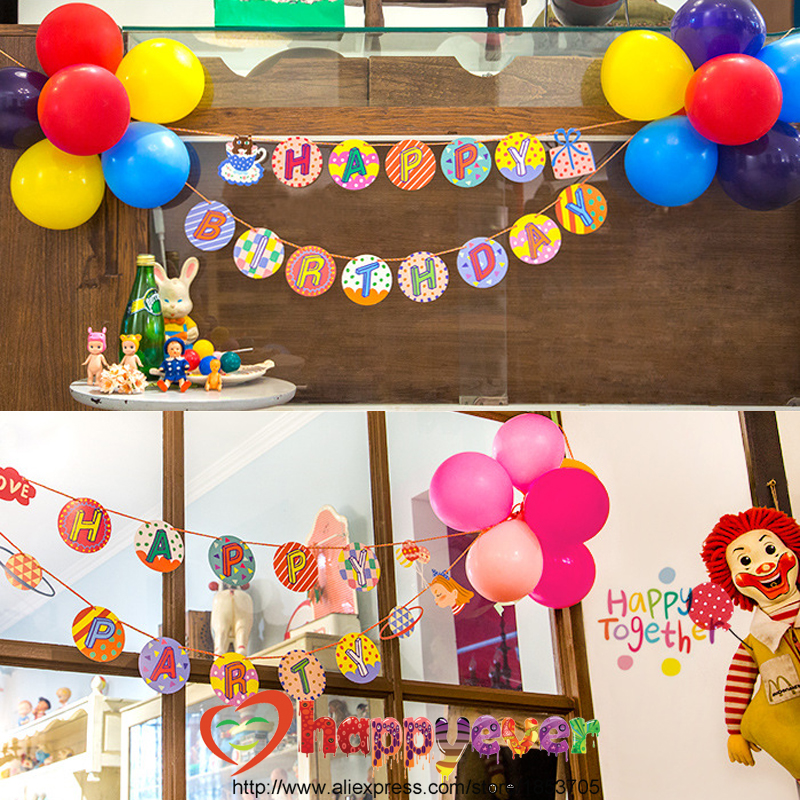 One Set Letter Garland with Balloon Flower Set Happy Birthday