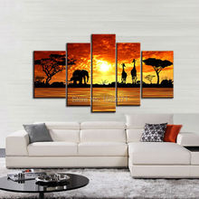 Superb Skills Artist Hand-painted Canvas Africa Landscape Oil Painting Beautiful Sunset Landscape and Animal Oil Canvas Painting