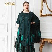 VOA шелк жаккард футболка плюс Размеры 5XL свободные Для женщин топы за Размеры d Tee Повседневное темно зеленый летний рукав «летучая мышь» дли