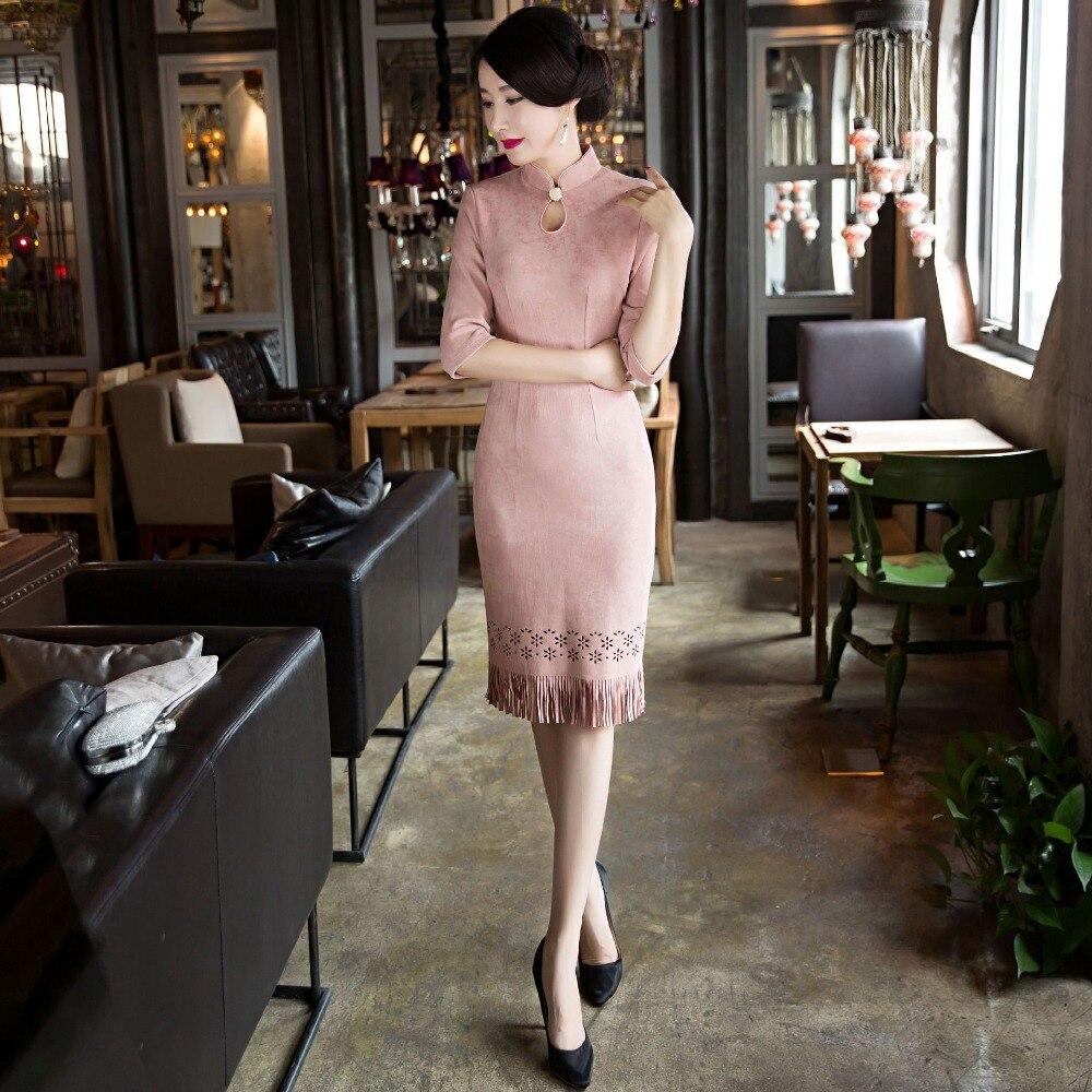 Nouvelle Arrivée De Mode Court En Daim Femmes Cheongsam Robe Chinois Dames élégant Qipao Nouveauté Sexy Robe Taille M L XL XXL 3XLF103030