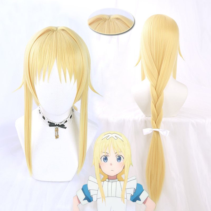 Alice Synthesis Thirty Cosplay Wig 2018 Anime Sword Art Online Alicization Long Golden Braids Synthetic Hair + Wig Cap