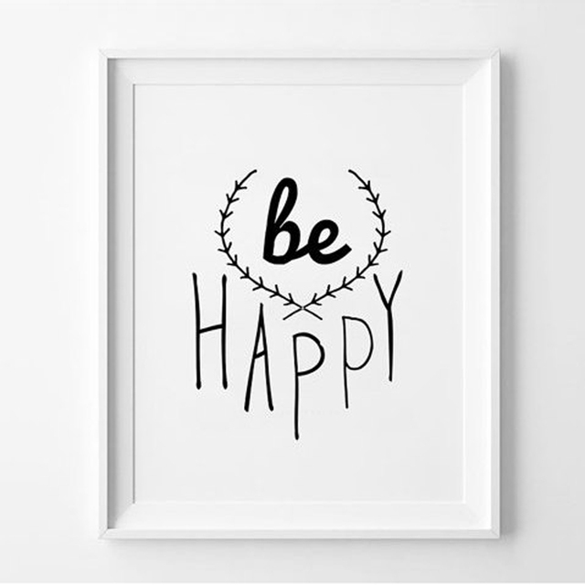 Black white posters be happy quote prints modern minimalist home decor canvas painting pictures on the