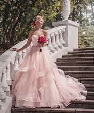 Verngo Sweetheart Blush Pink Wedding Dress Sleeveless Organza Bride Dress Luxury Bridal Ball Gowns Vestido De Novia