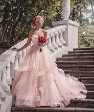 Verngo Sweetheart Blush Roze Trouwjurk Mouwloze Organza Bruid Jurk Luxe Bridal Baljurken Vestido De Novia