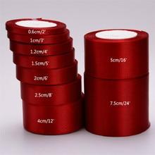 Новые 25 ярдов 6 мм-75 мм бордовые атласные упаковочные ленты материал сделай сам бант Ремесло Декор Свадебная вечеринка украшения подарок упаковка ленты
