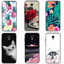 GerTong Cute Dog Cat Animals Pattern Phone Case For Meizu M6 M5 Note Protective Cover For Meizu M5S M5C Soft Black Shell Coque