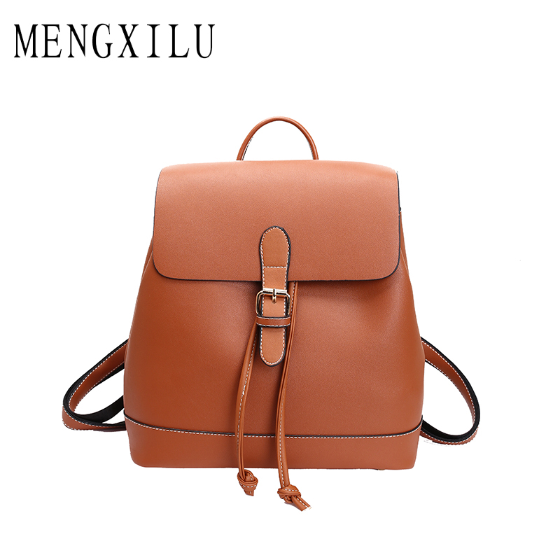MENGXILU Pu Leather Drawstring Women Backpack With Cover Fashion Backpack For Teenage Girl Student Schoolbag Mochila Escolar Bac