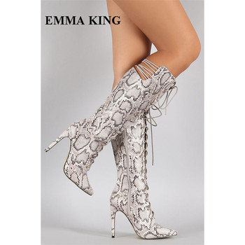 New Python Snake Prints Lace Up Knee High Boots Women Sexy Stiletto Pointed Toe Shoes Women Cutouts Gladiator Botines Mujer 2018