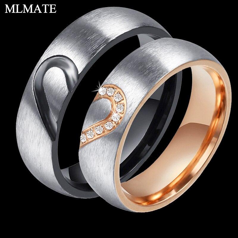 Для мужчин и женщина, Любовь Сердце Нержавеющаясталь Обручальное кольцо обещания Обручение пару колец