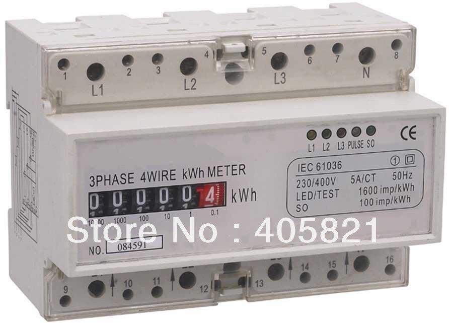 Haute précision 5 + 1 chiffres registre par étape type compteur de watt-heure électronique triphasé, compteur de puissance, compteur Din-rail, compteur KWH