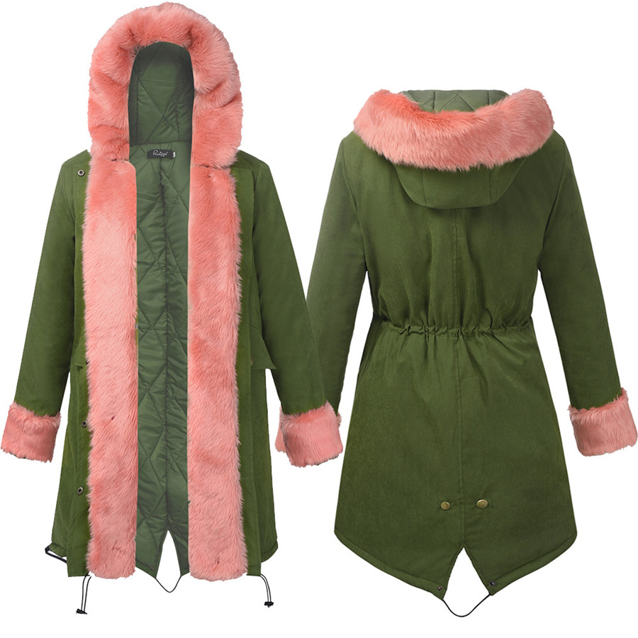 Women Fur Collar Thick Parkas 2017 New Autumn Winter Women's Jackets With Hood Long Cotton Padded Jacket Warm Fashion Coats 2013 women autumn winter fashion candy color faux wool fur collar hood slim long thick cotton padded coatm l xl d2151
