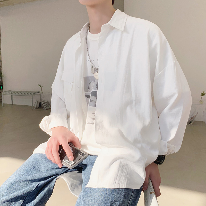Image 5 - 2019 Весна Лето корейский карманный дизайн тонкий оверсайз Мужская черная белая Повседневная рубашка блузка-in Повседневные рубашки from Мужская одежда on AliExpress