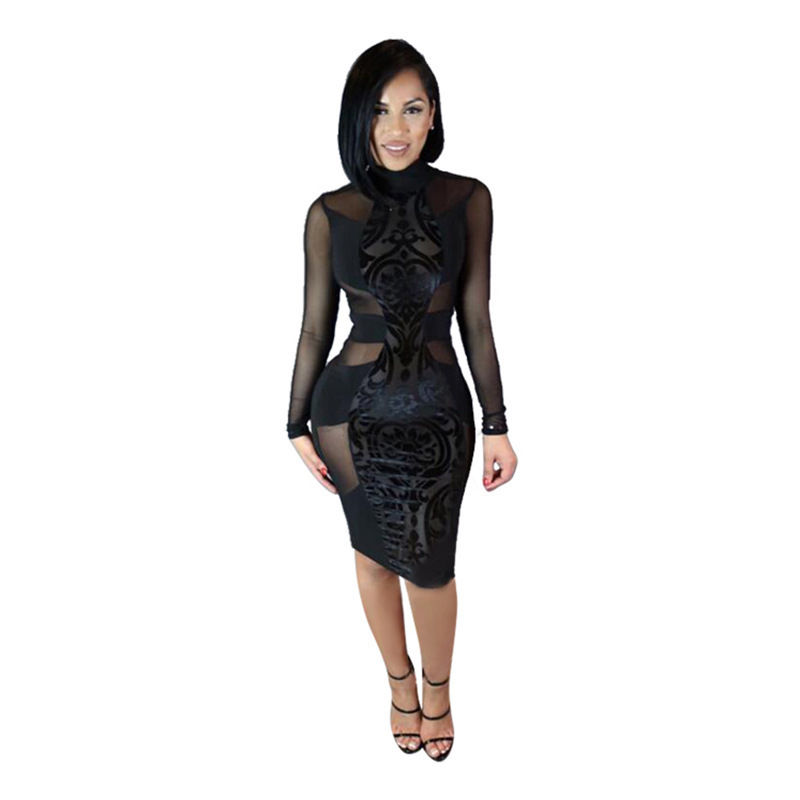 Sexy Bandage Dress Winter Black White Dress Long Sleeve Mesh Patchwork  Bodycon Knee Length Dresses day dress