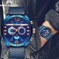 MEGALITH мужские часы военные часы мужские модные водонепроницаемые синие кожаный ремешок кварцевые наручные часы Мужские часы Reloj Hombre
