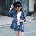 New Kids Fall Hooded Girls  Denim Jacket 2017 Spring Autumn Fashion Korean Long Coat Long Sleeve All-Match Of Children Hot Sale