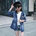 Novas Crianças Queda Meninas Encapuzados Jaqueta Jeans 2017 Primavera Outono moda Coreano de Longo Casaco de Manga Longa de Todos Os Jogo De Crianças Quente venda