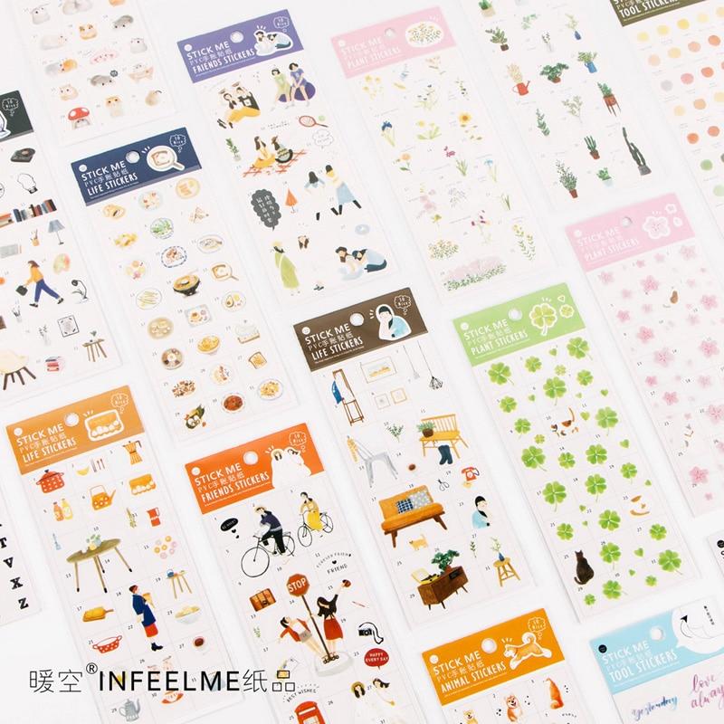 1 X Cute Animals Plant Princess Adhesive Paper Sticker Decorative DIY Scrapbooking Sticker Post Kawaii Stationery