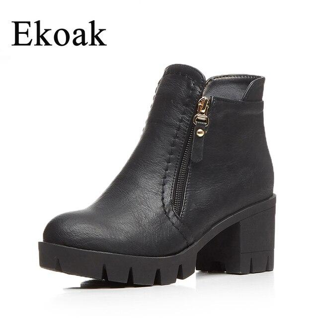 Ekoak/женские ботинки Новинка 2017 г. модная обувь Осенние женские ботильоны классические ботинки на высокой платформе повседневные ковбойские ботинки L35