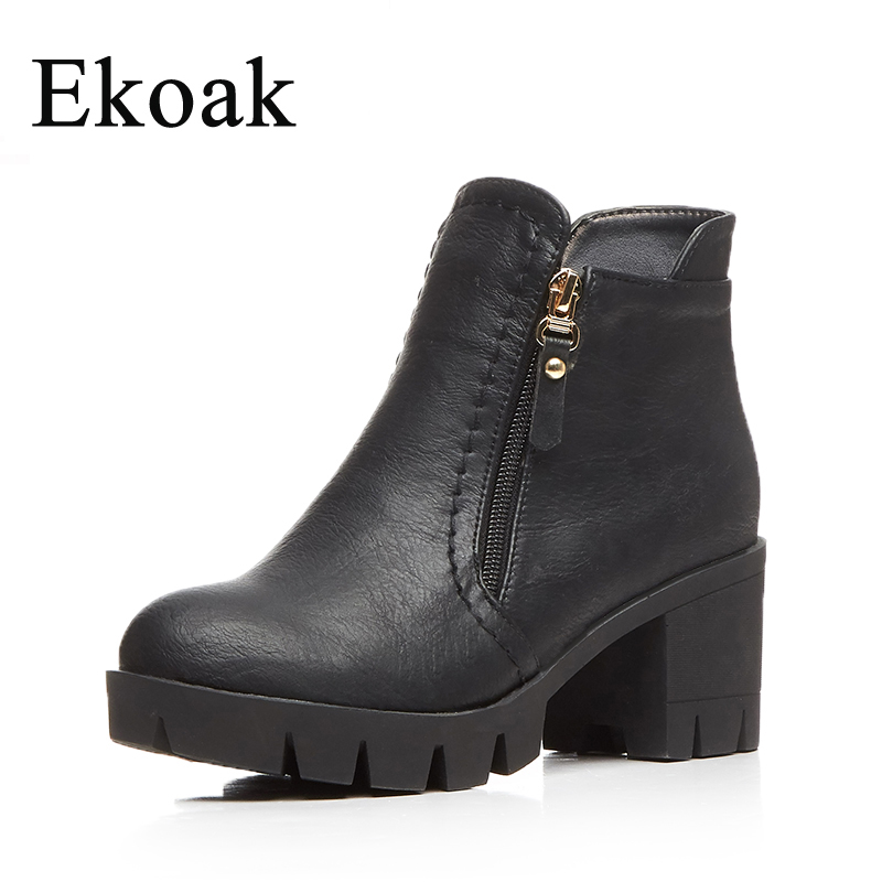 Ekoak Women Winte Boots New 2017 Fashion Shoes Woman Autumn Ankle Boots Classic High Heels Platform