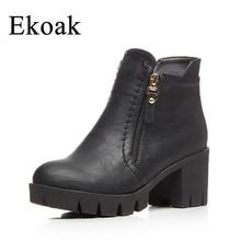 Ekoak/Для женщин Winte Ботинки Новинка 2017 г. модная обувь Осенние женские ботильоны классические ботинки на высокой платформе Повседневное ковбойские ботинки