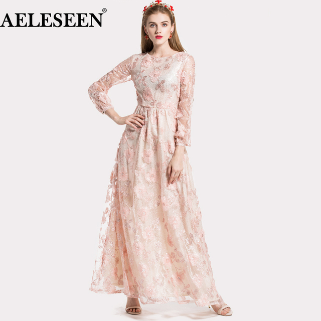9bd6774180c High Quality Romantic Long Dress Spring Full Sleeve 3D Embroidery Dress  Appliques Top Fashion 2018 Beautiful Pink Maxi Dress