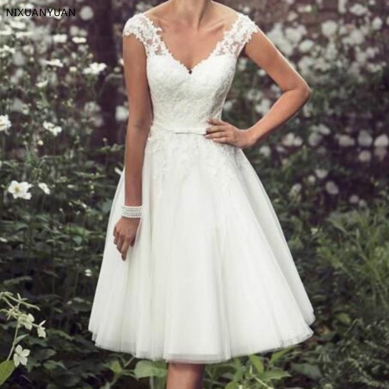 Beach Elegant Tea Length Short Wedding Dresses Lace Cap Sleeves Appliques Wedding Gowns Tulle V Neck Vestido De Noiva