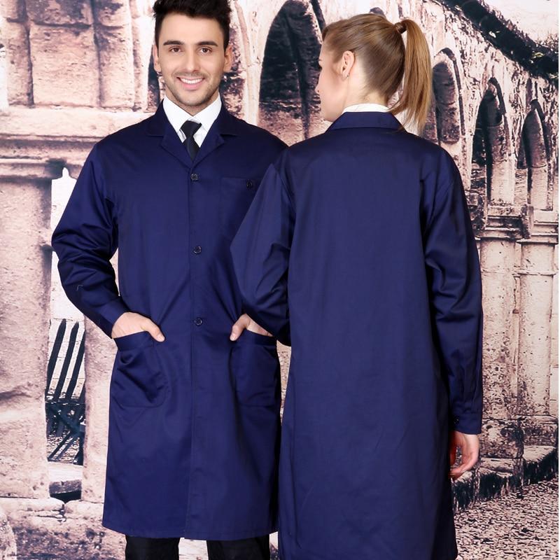 ФОТО Plus size long-sleeve coat blue work wear protective clothing work clothes lab coat traffic uniform