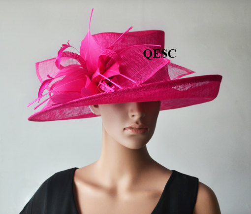 Hot pink Large brim Dress formal Church Hats with feather for Ascot  Races 41e5371abdd