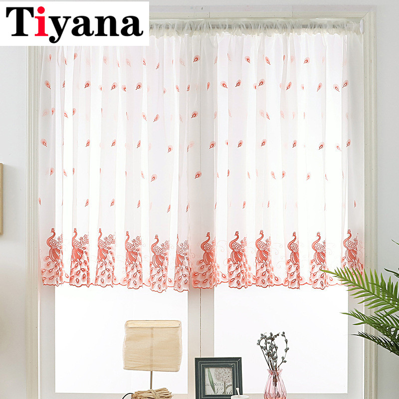 Short Curtain Embroidered Peacock pocket panel Sheer Tulle For Home Living Room Kitchen Door Balcony Window Screen Panel JK318X