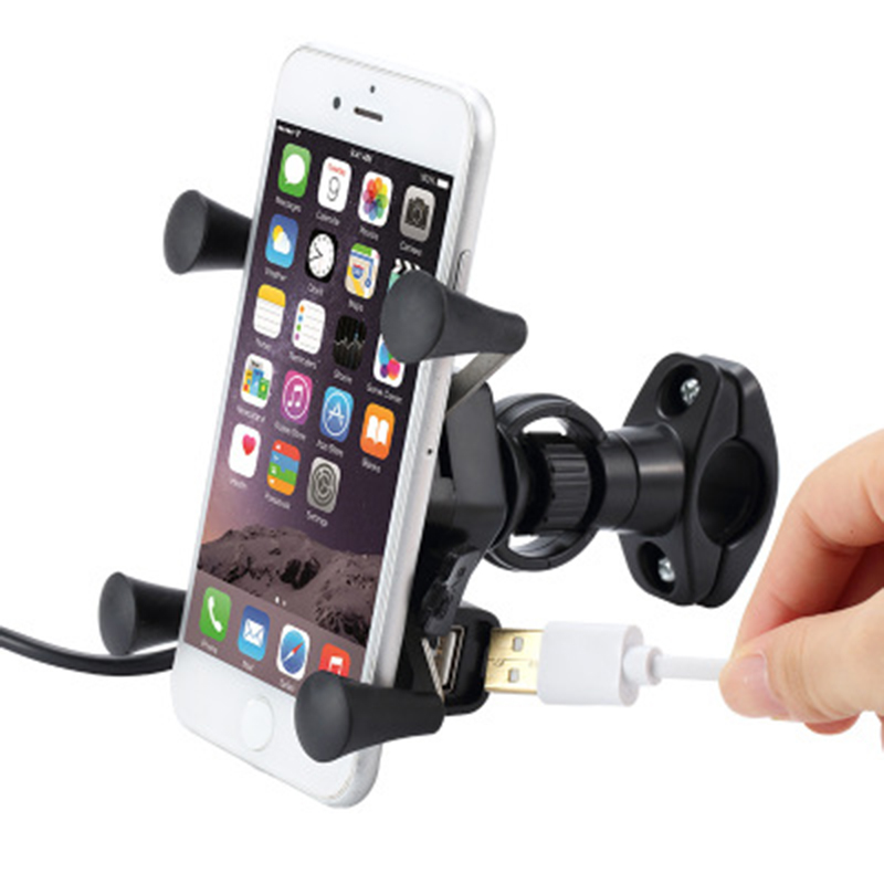 Motorcycle Bike Mobile Phone Stand Holder With USB Charger Socket X Type Mobile Phone Mount Bracket For  IPhone Samsung  Xiaomi