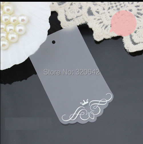 Free shipping, women's clothing dress Lace Scallop Head transparent clear PVC decoration tags,queen lace luxury plastic hang tag
