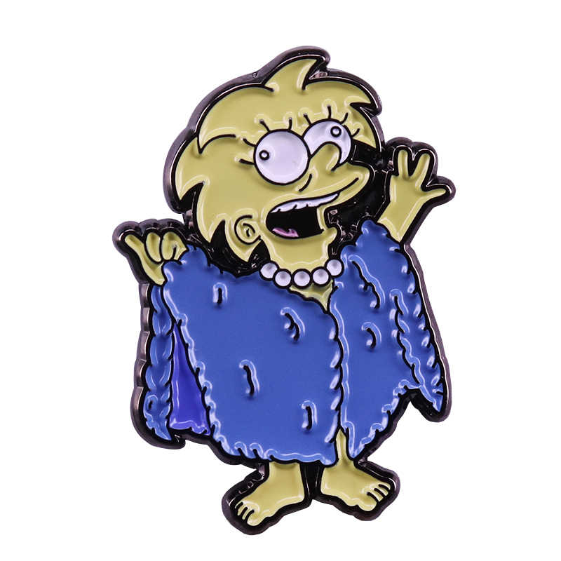 Lisa Simpson distintivo lizard regina spilla pop anime pin sveglio del fumetto cappotto giacche decor