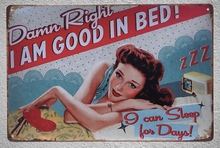 1 pc Women Sleep good in bed sex Hollywood actress  Tin Plate Sign wall man cave Decoration Man Art Poster metal vintage