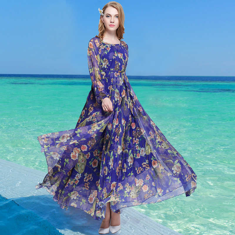 2018 spring and summer vintage long-sleeve chiffon beach dress Holiday Long  Sleeve Maxi Dress 6e016bb2faed