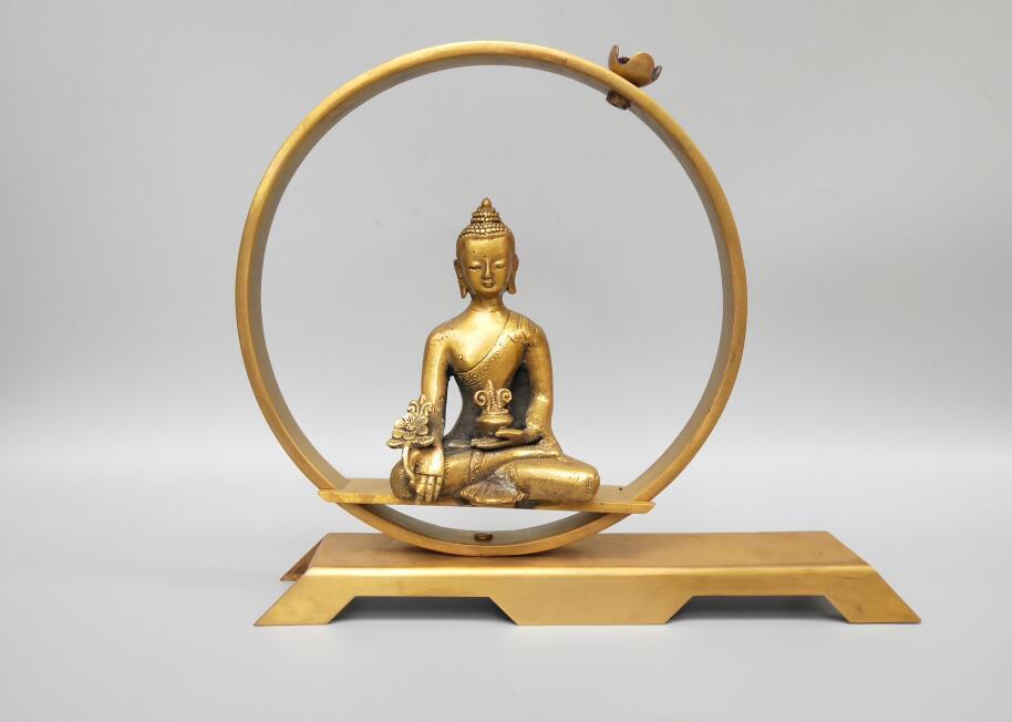 Cinese ottone puro buddista sakyamuni Riflusso incenso burneeCinese ottone puro buddista sakyamuni Riflusso incenso burnee