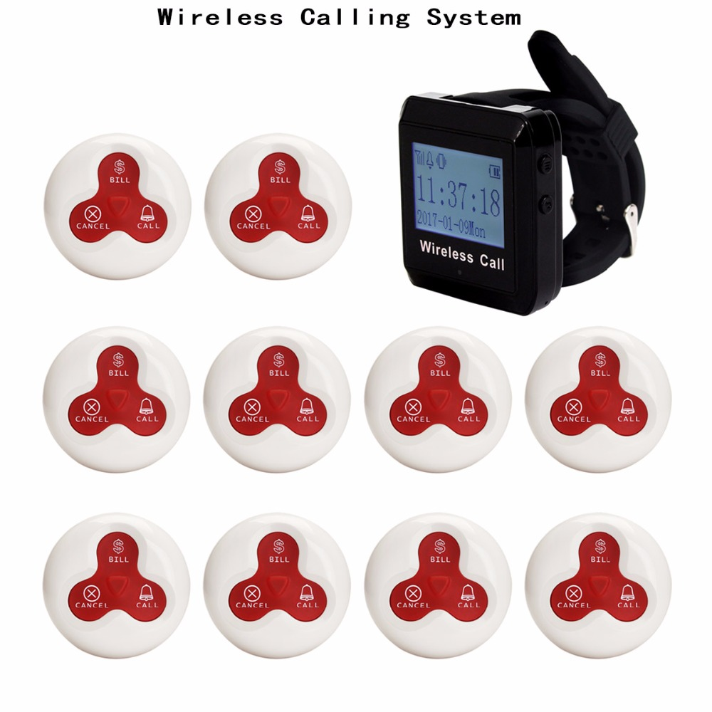 4 Color 433MHz Restaurant Pager Wireless Calling Paging System Watch Wrist Receiver Host +10pcs Call Transmitter Pager F3255C wireless pager system 433 92mhz wireless restaurant table buzzer with monitor and watch receiver 3 display 42 call button
