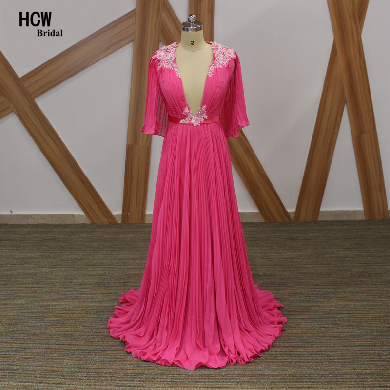 Hot Pink Long   Evening     Dress   New Arrival Ruched Chiffon Crystals Flowers Formal Occasion Gown Deep V Neck A Line Arabic   Dresses