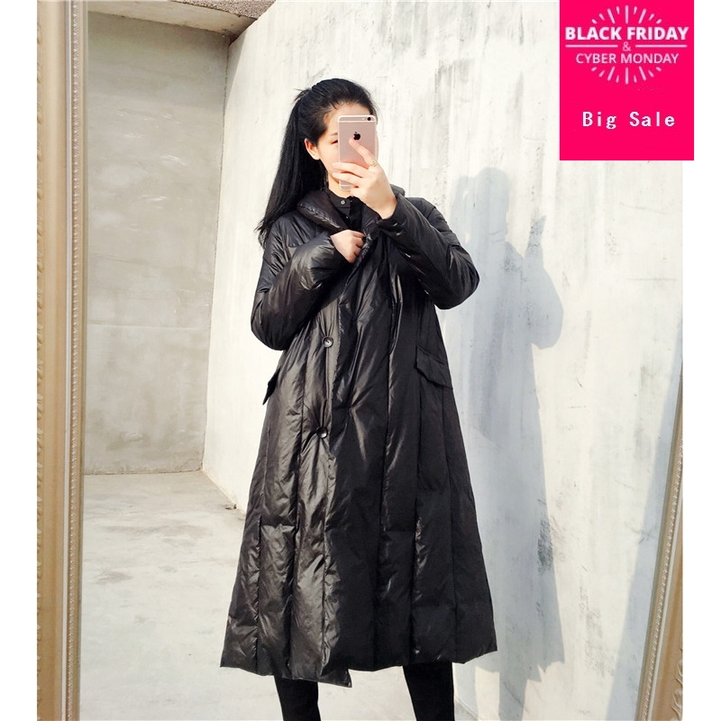 90% duck   down     coat   fashion brand single breasted longer   down   jacket female high Pile up collar thicker warm   down     coat   wq336