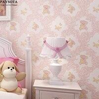 3D Wallpaper Bedroom Boys And Girls Children S Room Environmental Non Woven Cartoon Bear Wall Paper