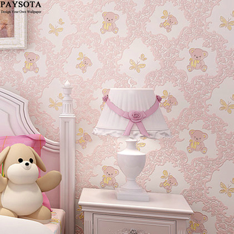 2017 Papier Peint Paysota 3d Wallpaper Bedroom Boys And Girls Children's Room Environmental Non-woven Cartoon Bear Wall Paper pulp and paper industry and environmental disaster
