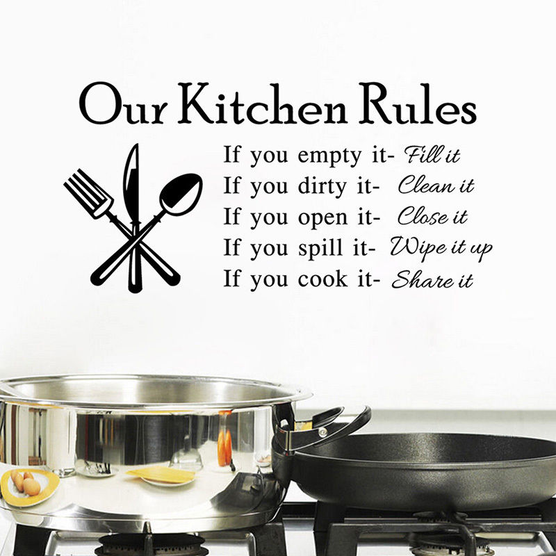 Kitchen Rules Kitchen Vinyl Wall Stickers For Kids Room Lettering