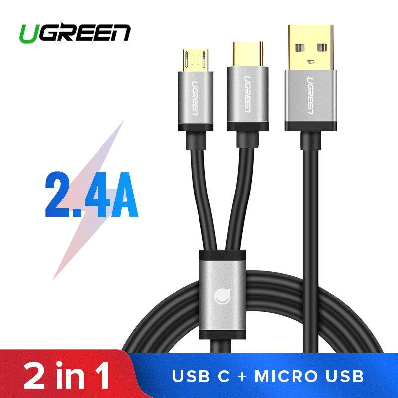 Ugreen 2 en 1 USB-C Cable para Samsung Galaxy S10 S9 más 2.4A de carga rápida Cable Micro USB para uno más 6 5 Cables de teléfono móvil