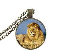 Lion Necklace Jungle King Jewelry Animal Pendant Glass Cabochon Gem Wildlife Picture Choker Antique Bronze Chain