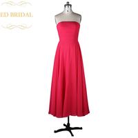 A Line Strapless Tea Length Fuchsia Bridesmaid Dress Maid Of Honor Dress Women Special Occasion Formal