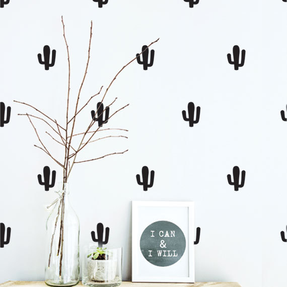 Cactus Pattern Wall Sticker Free Shipping Kids Nursery Bedroom Art Decor Set Vinyl Mural Removable Decals D-267