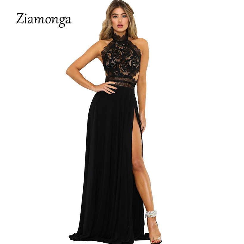 2f40b4c5e6 Ziamonga Sexy Split Lace Maxi Dress Women Elegant Summer Solid Halter Off  Shoulder Long Dresses Form
