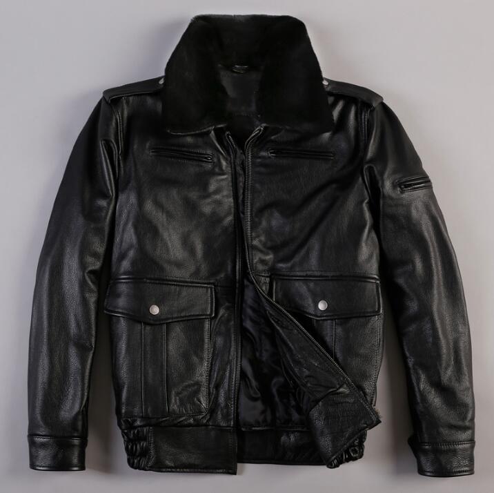 Толстые теплые кожаные мотоциклетные Куртки Для мужчин тонкий короткий теплое пальто из хлопка меховой воротник натуральная кожа верхняя